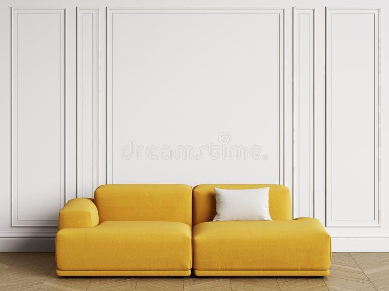 在内部的现代斯堪的纳维亚设计沙发 有造型的,地板木条地板人字形墙壁 向量例证