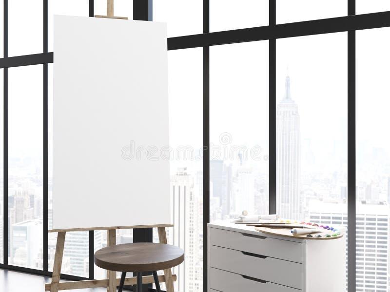 在内部的空白的画架 皇族释放例证