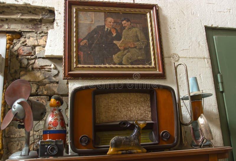 在内部的老苏联装饰 库存图片