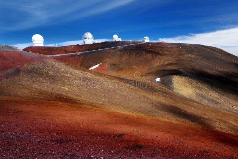 在冒纳凯阿火山山峰,夏威夷,美国顶部的冒纳凯阿火山观测所 免版税库存图片