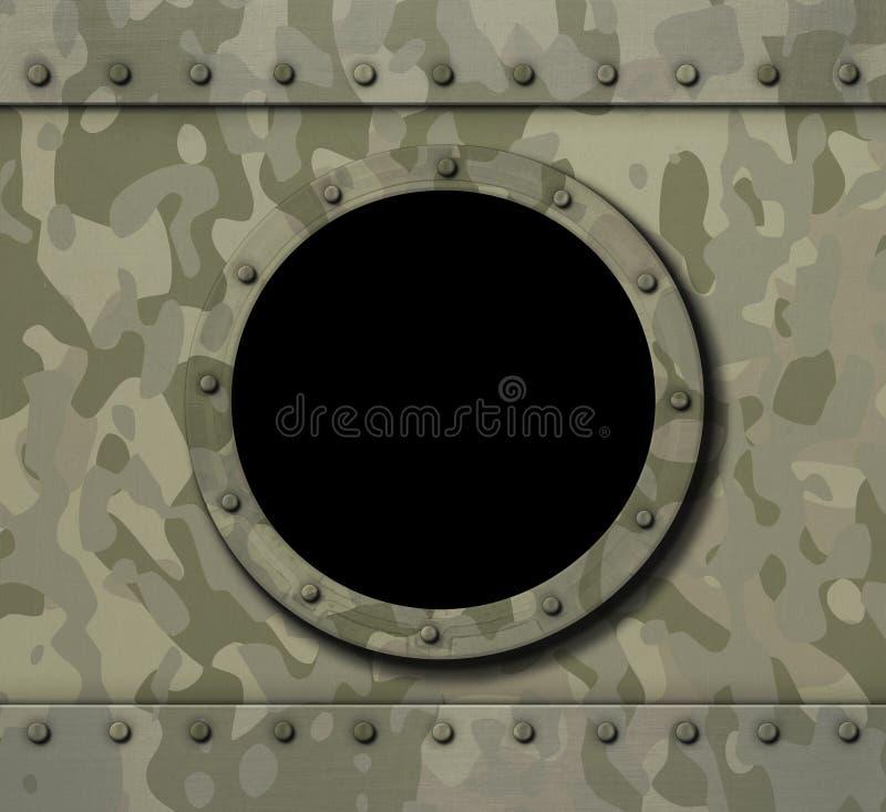 在军事金属背景3d例证的舷窗窗口 皇族释放例证