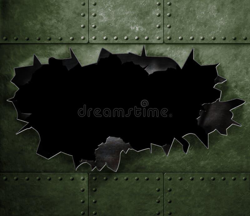 在军事绿色金属装甲背景的大孔 库存例证