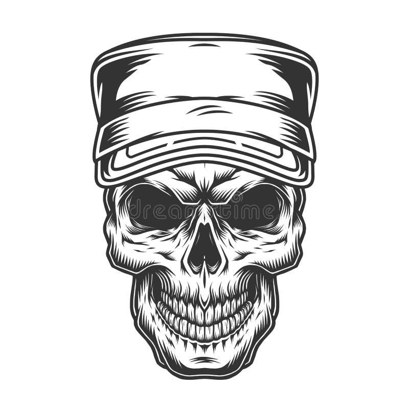 在军用盖帽的头骨 向量例证