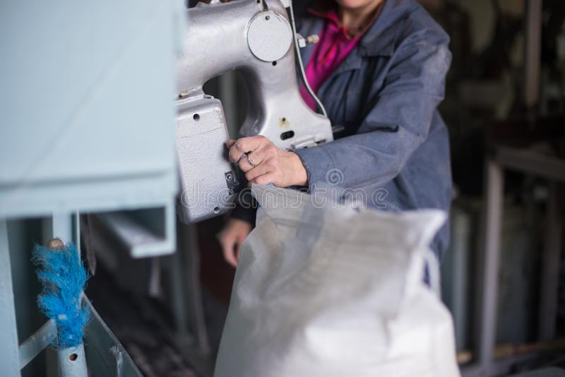 在农产品的生产的工作 在iniform打扮的一名白种人妇女进行在包装的传动机的工作 免版税库存照片