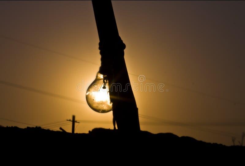 在农厂太阳集合的电灯泡 库存图片