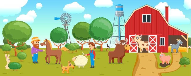 在农厂横幅的动画片动物 皇族释放例证