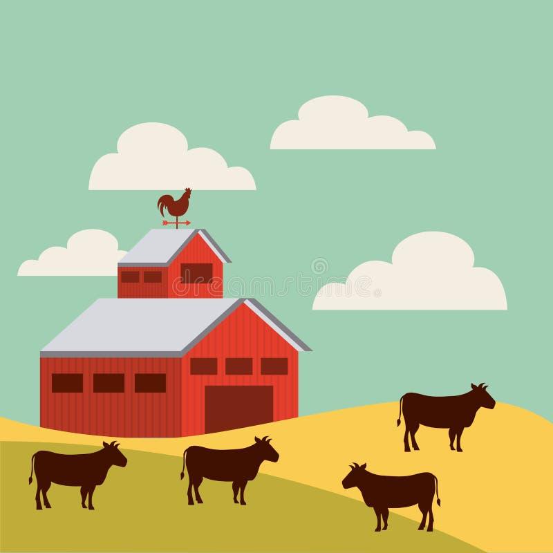 在农厂风景的红色谷仓 向量例证