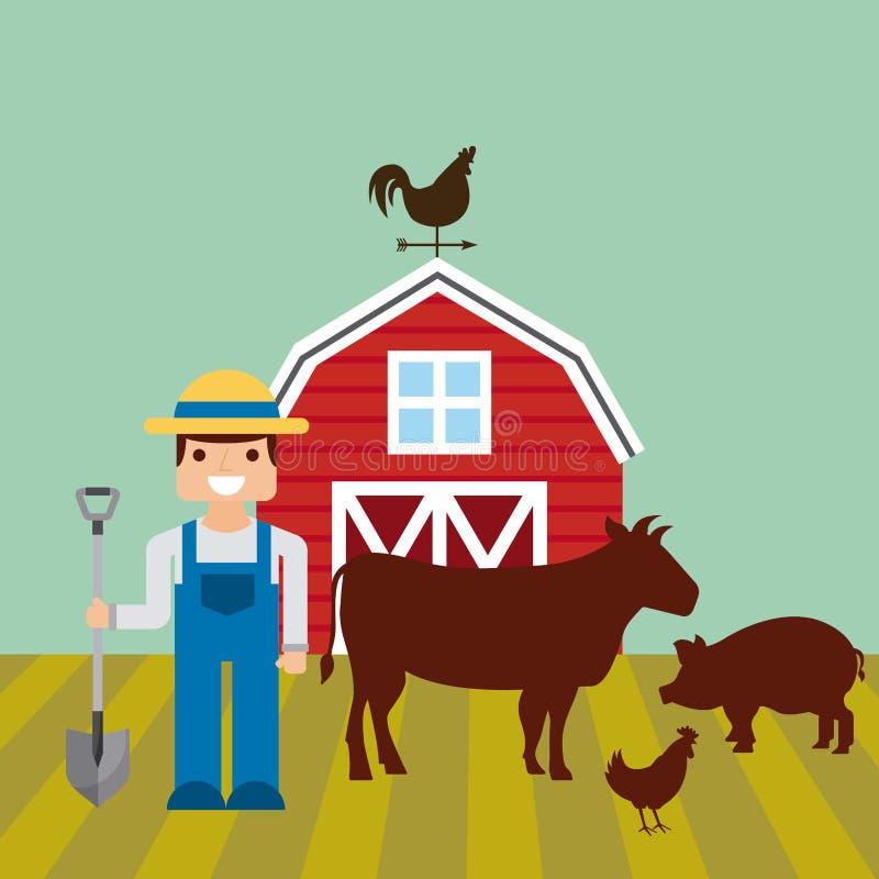 在农厂风景的红色谷仓 库存例证