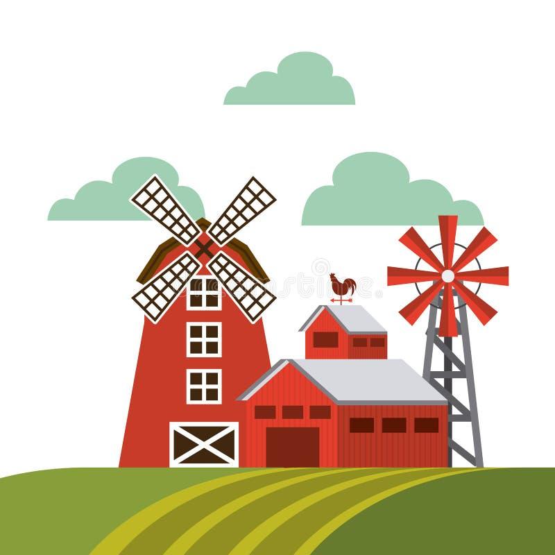 在农厂风景的红色谷仓 皇族释放例证
