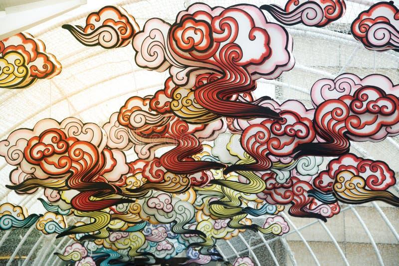 在农历新年庆祝装饰的红色comp灯灯笼中国式垂悬 图库摄影