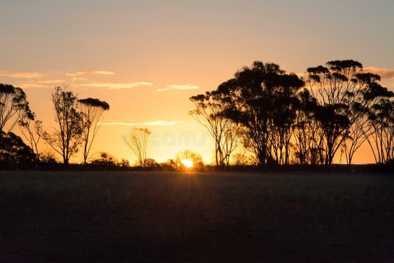在农场的秋天日落 库存图片