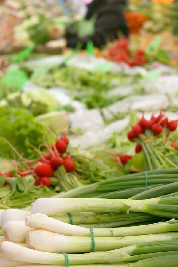 在农夫市场上的韭葱 库存照片