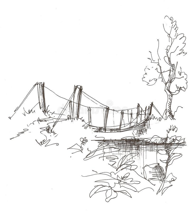 在农村的河的桥梁横向 库存图片