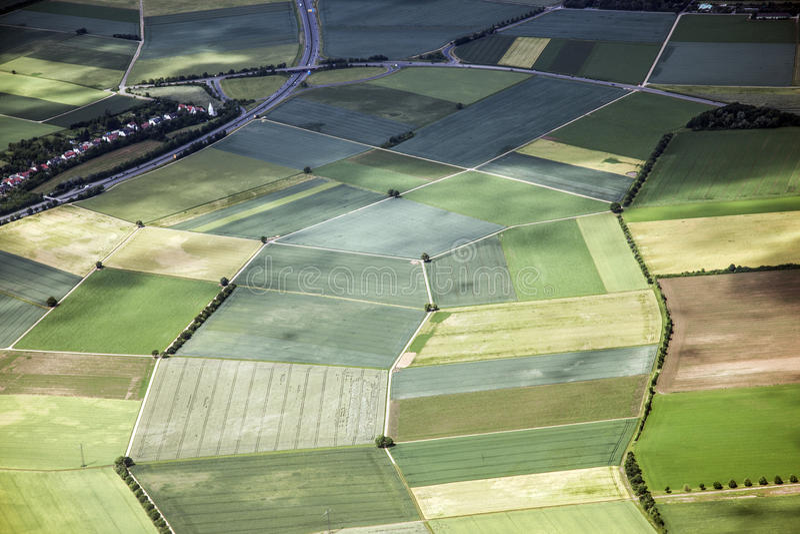 在农村的空中风景视图 免版税库存图片