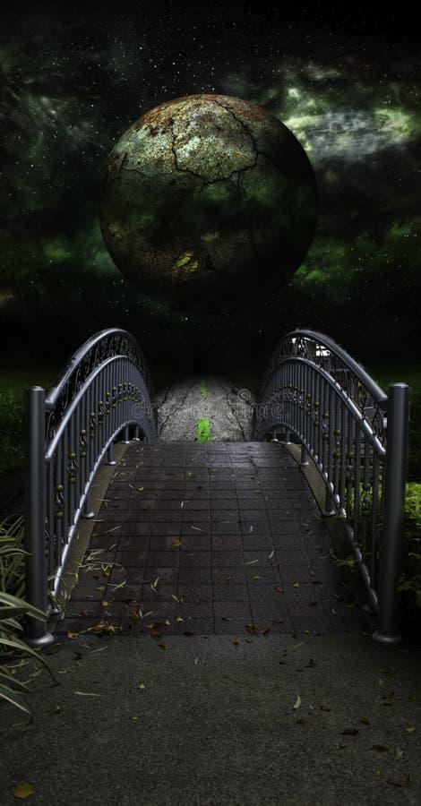 在农村路风景的桥梁黑暗的星 图库摄影