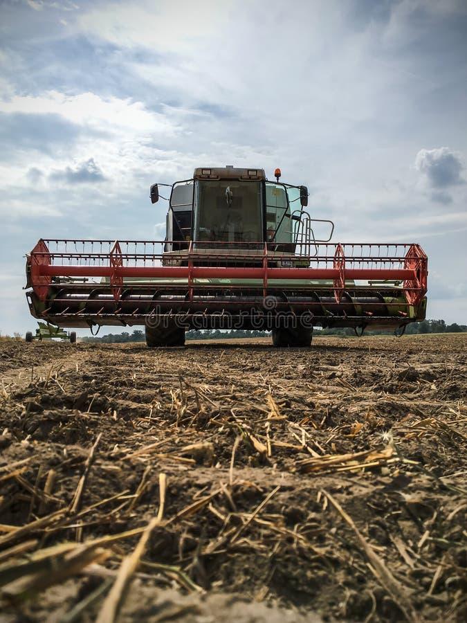 在农田的联合收获 库存图片