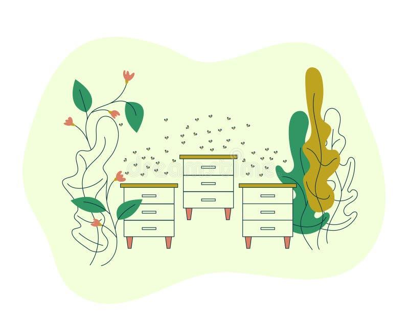 在农田的蜂房与花 有蜂蜂房的蜂房和蜂群  与蜂的开花的花 导航平展现代 皇族释放例证
