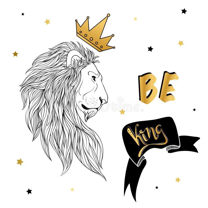 在冠的狮子有口号印刷品的 向量例证