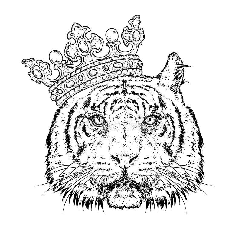 在冠的美丽的老虎 导航明信片或海报的,衣裳的印刷品例证 食肉动物 向量例证