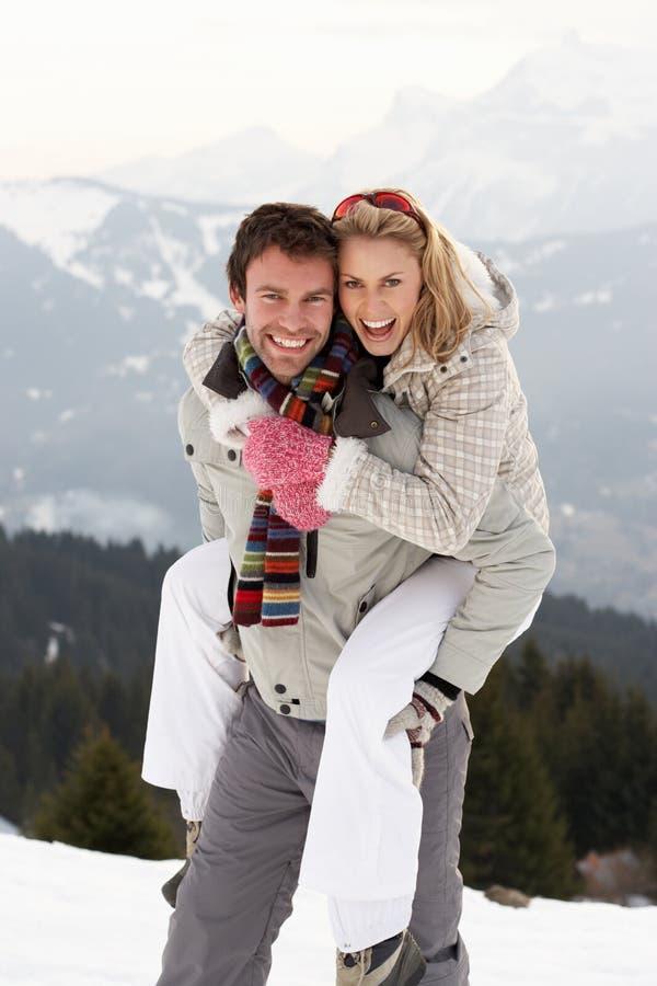 在冬天假期的新夫妇 库存照片