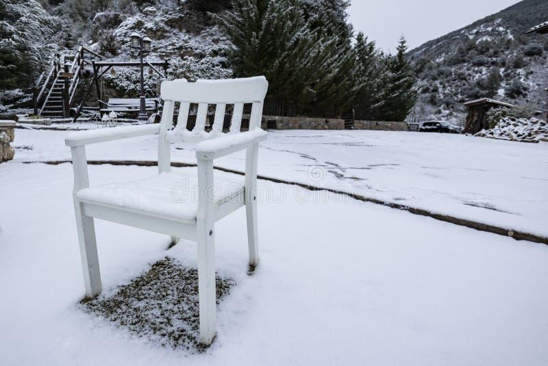 在冬天公园场面的雪盖的白色椅子 库存照片