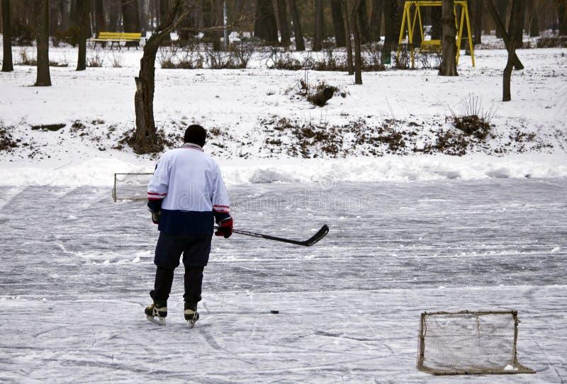 在冬天公园的街道曲棍球 库存照片