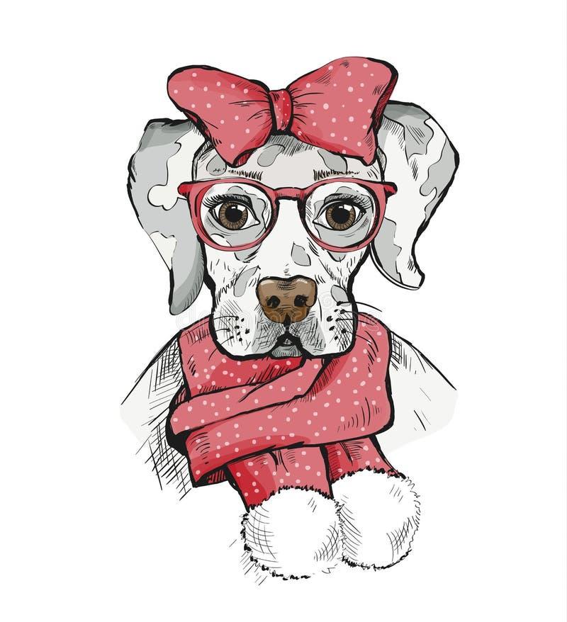 在冬天围巾的逗人喜爱的女孩狗和在它的头的红色弓 皇族释放例证