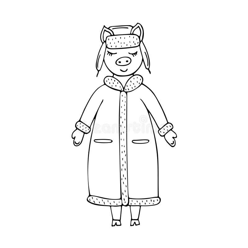在冬天外套和帽子的手拉的单色传染媒介猪 库存例证