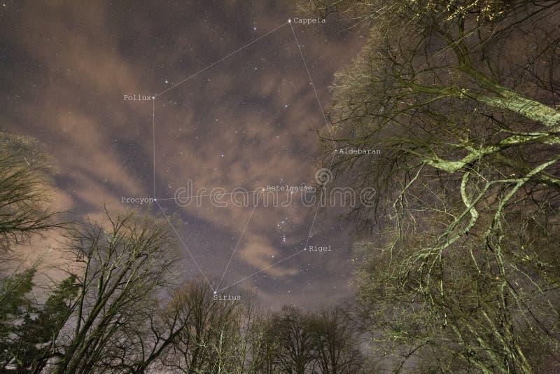 在冬天季节的星三角和六角形 库存照片