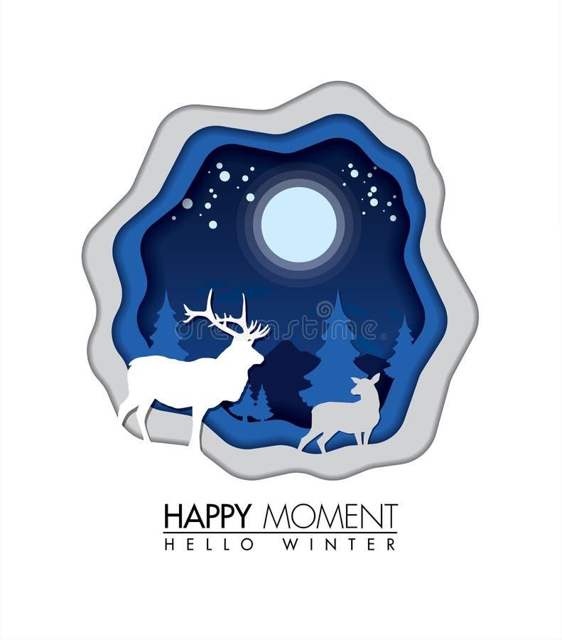 在冬天季节纸艺术概念的鹿幸福时光 皇族释放例证