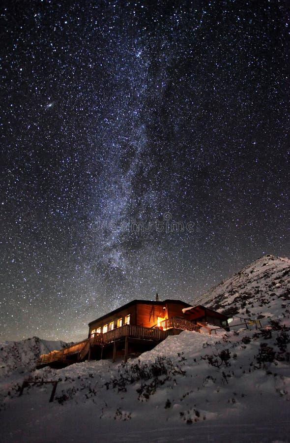 在冬天山风景的银河与村庄,斯洛伐克 图库摄影