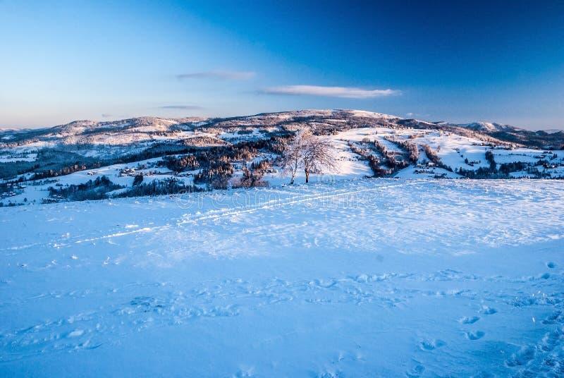 在冬天期间,从Ochodzita小山的看法在西莱亚西Beskids山的Koniakow村庄上在波兰 免版税库存图片