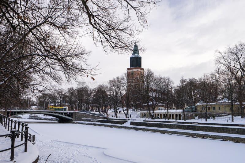 在冬天期间,图尔库市芬兰 免版税库存图片