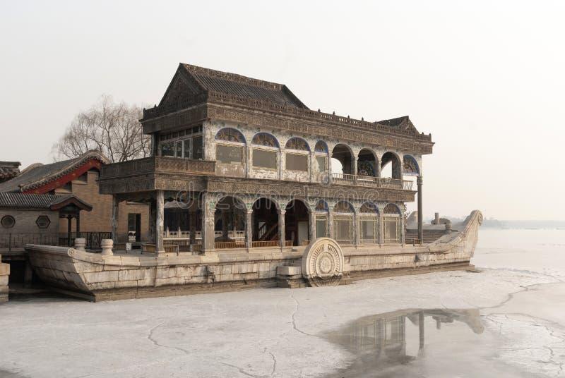在冬天期间,颐和园大理石小船 库存照片