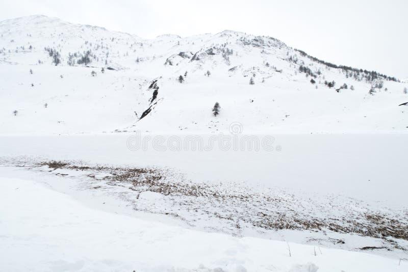 在冬天期间, Snowy湖欧洲阿尔卑斯 图库摄影