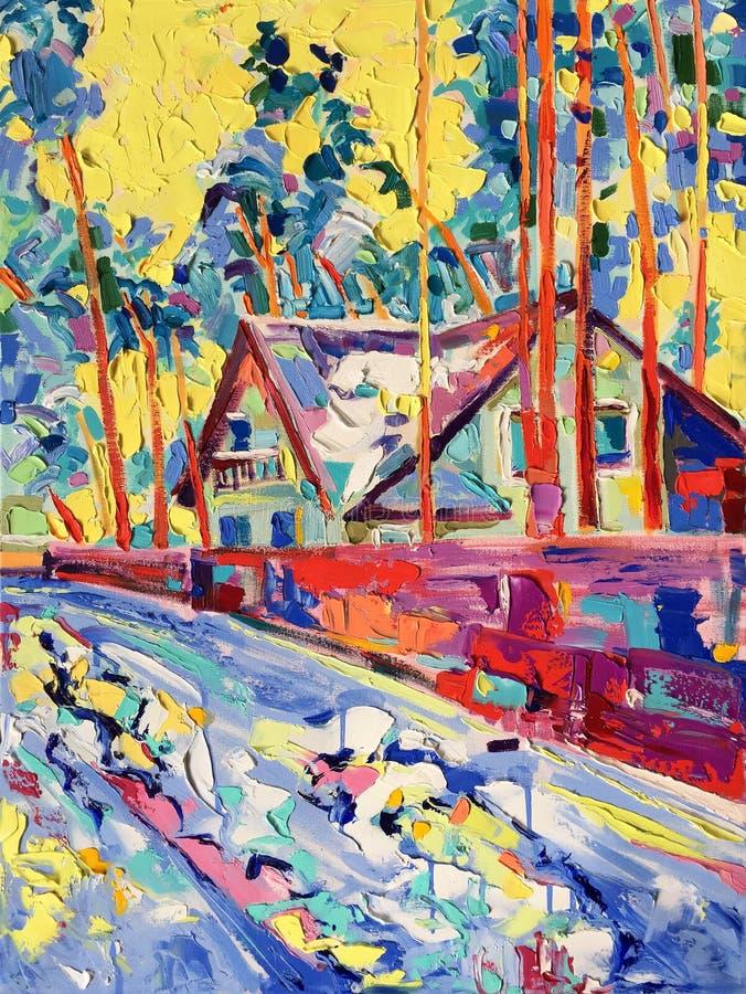 在冬天村庄帆布的原始的油画  向量例证