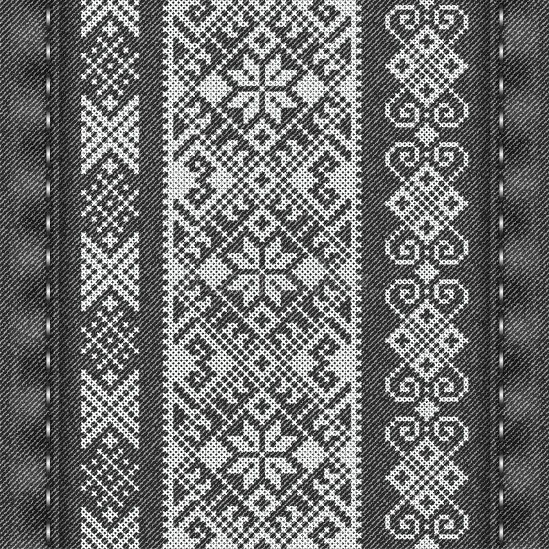 在冬天样式的传统刺绣 库存例证