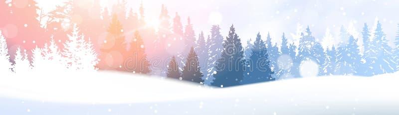 在冬天森林发光的雪的天在阳光森林地风景白色斯诺伊杉树森林背景下 皇族释放例证