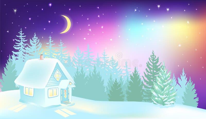 在冬天森林和房子的北极光 库存例证
