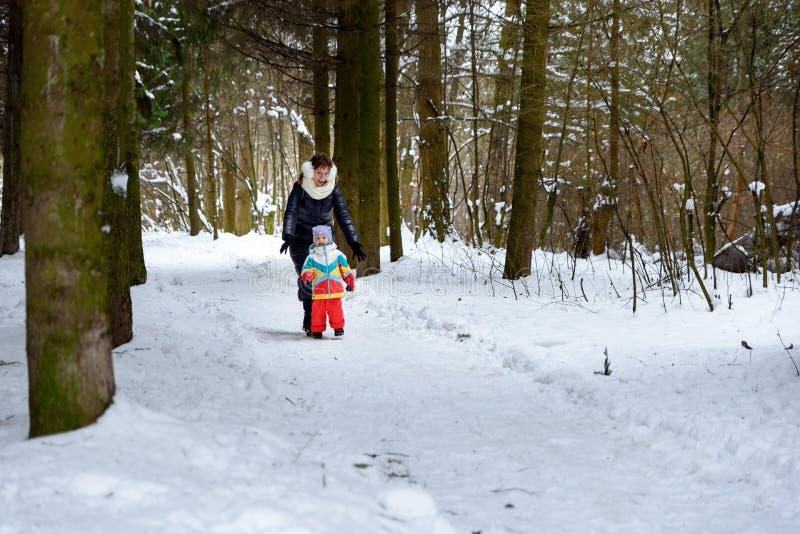 在冬天森林爸爸妈妈和孩子的家庭步行 免版税库存照片