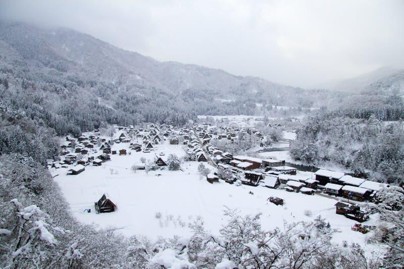 在冬天白川町去 库存照片