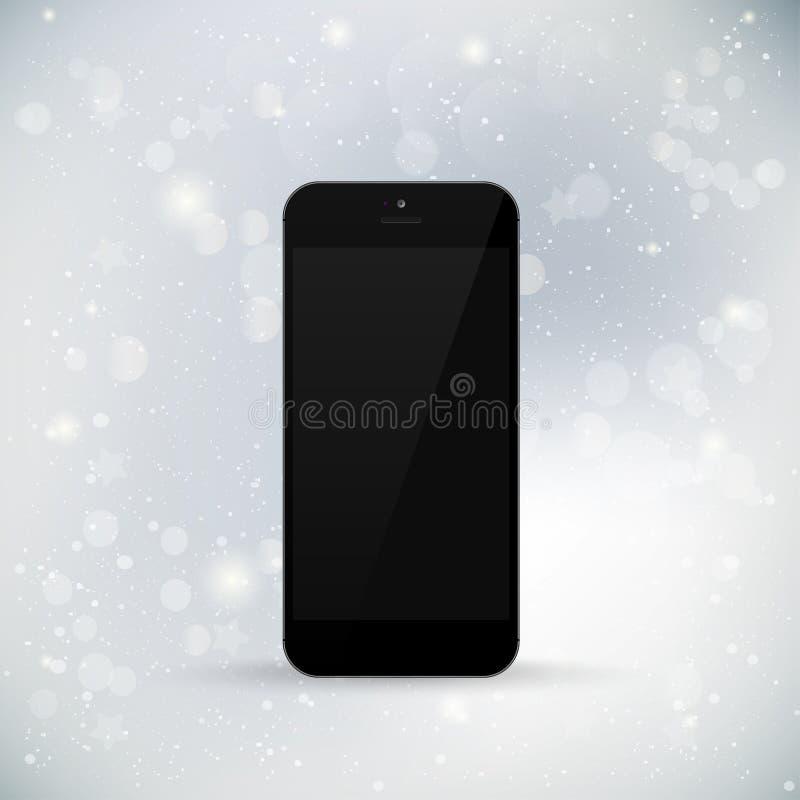 在冬天背景的现实电话 黑屏 向量例证