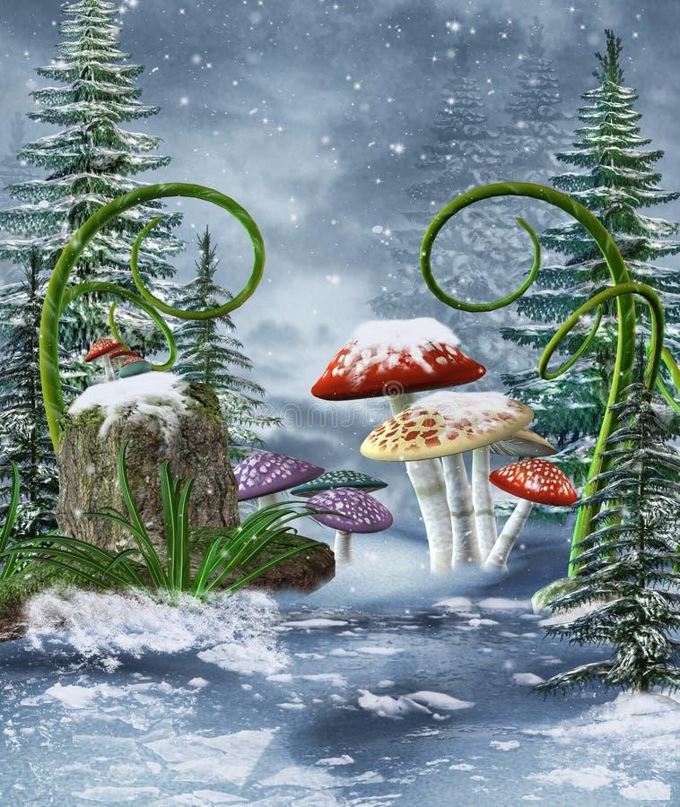 在冬天草甸的蘑菇 向量例证