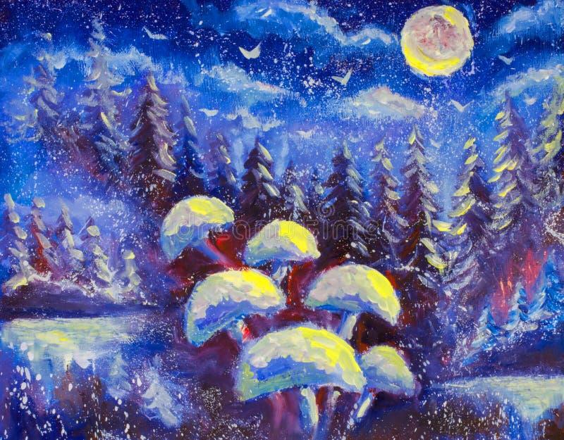 在冬天蓝色背景的抽象不可思议的蘑菇 云杉的树森林  下雪 大月亮是光亮的原始的油painti 向量例证