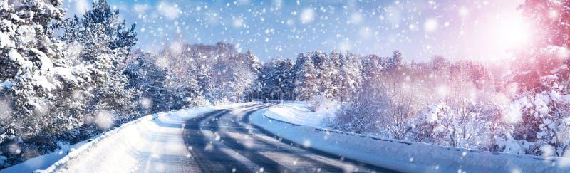 在冬天路的汽车 库存图片