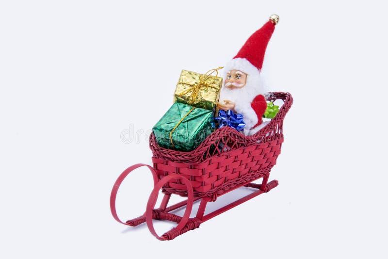 在冬天雪橇的圣诞老人项目 免版税库存照片
