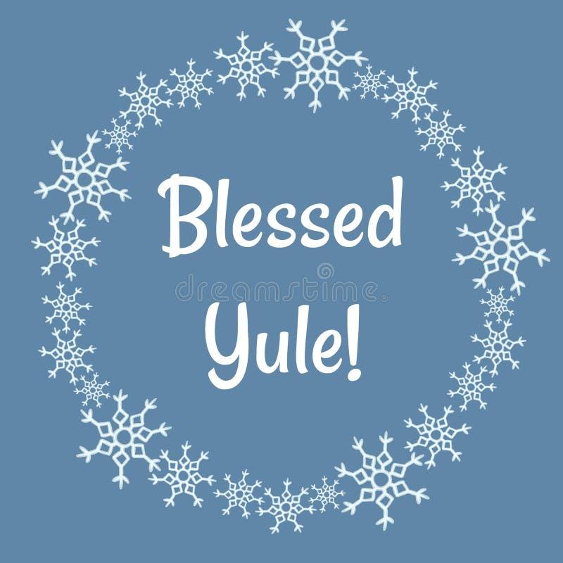 在冬天雪花的保佑的Yule字法缠绕 库存例证