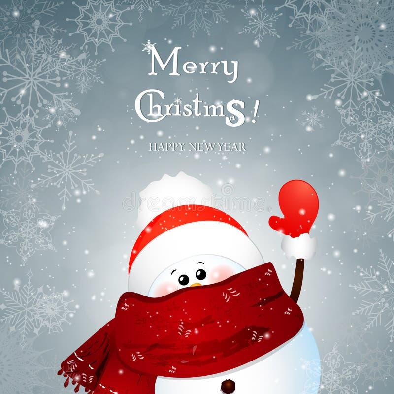 在冬天雪花背景的圣诞节逗人喜爱的雪人挥动的手与bokeh 动画片 皇族释放例证