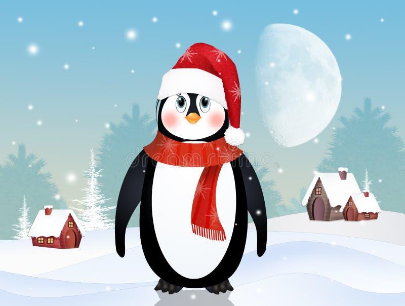 在冬天风景的企鹅 皇族释放例证