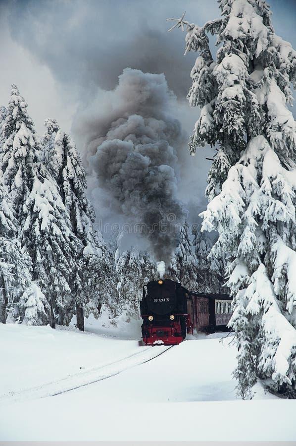在冬天风景的布罗肯峰铁路 图库摄影